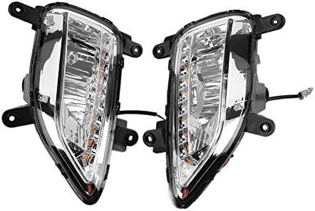 EBTOOLS 1ペアデイタイムランニングライト、カーデイタイムランニングライトターンシグナル2色DRL LEDフォグランプfor Forte 13-15