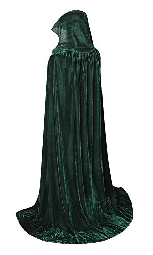 yolsun Unisex Hooded Cloak, Full Length Halloween Velvet Cape with Hood, Christmas Costumes Cloak (59