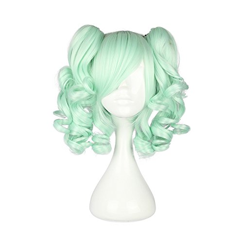 "Mcoser 13"" Multi-color Lolita short Straight Clip on Ponytails Cosplay Wig (Green)"