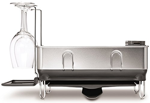 simplehuman Compact Steel Frame Dish Rack with Wine Glass Holder, Brushed Stainless Steel, Grey