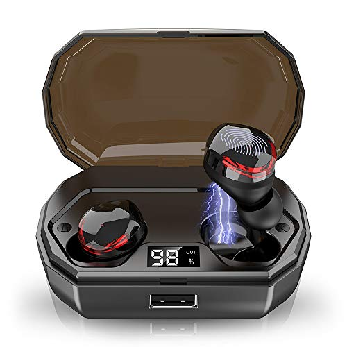Wireless Earbuds, IPX8 Waterproof Bluetooth Headphones with Mic, Deep Bass, 3D HiFi Stereo True Bluetooth Earbuds V5.0, 3000mAh Charging Box with CVC8.0 Noise Cancelling Headphones for Running Sport