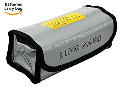Eleoption® Fireproof Explosionproof Lipo Battery Safe Bag Lipo Battery Guard Safe Bag Pouch Sack for Charge & Storage 185x75x60mm (big size)