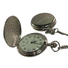 Luxury Engraved s UK Men's Grandad Pocket Watch Chrome Finish, Personalised / Custom Engraved In Box