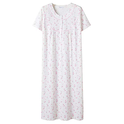 Keyocean Women's Nightgowns 100% Cotton, Lace Trim Floral Short Sleeve Long Sleepwear for Women, Plus Size, Light Pink