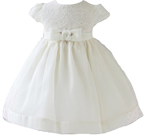 Little Baby Girls' Beautiful Lace Bodice Taffeta Infant Flowers Girls Dresses Ivory Size XL