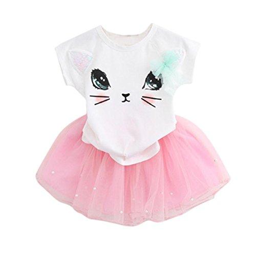 Orangeskycn Girls Summer Dress, Lovely Summer Kid Girls Little Kitten Printed Shirt Dress Clothes Set