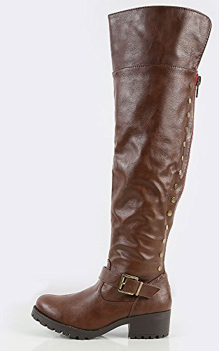 Womens Bamboo Capture-04 Side Stud Riding Boots,Brown,9