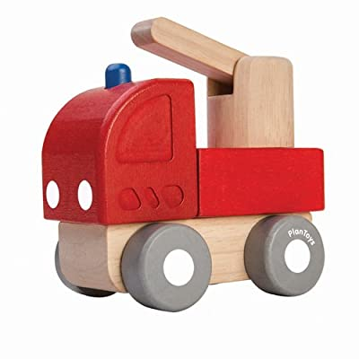 PlanToys Wooden Mini Fire Engine Baby Toy (5438) | Sustainably Made from Rubberwood and Non-Toxic Paints and Dyes: Toys & Games