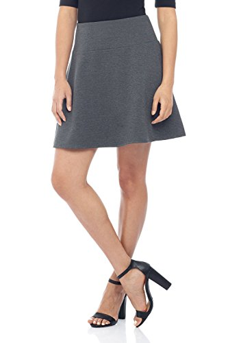 Rekucci Women's Ease in to Comfort Wide Waist Flared Flippy Skirt Luxe Ponte (Medium,DK Charcoal) - Designer Mini Skirt