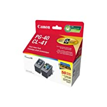 Genuine Canon PG-40/CL-41 Ink Cartridge Photo Value Pack, Black, Tri-Colour and 50 Sheets Photo Paper