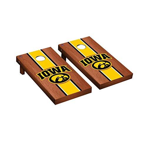 - Victory Tailgate Regulation Collegiate NCAA Rosewood Stained Stripe Series Cornhole Board Set - 2 Boards, 8 Bags - Iowa Hawkeyes