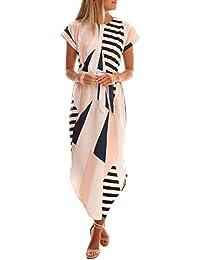 Women's Short Sleeve V Neck Geometric Print Casual Midi Dress with Belt