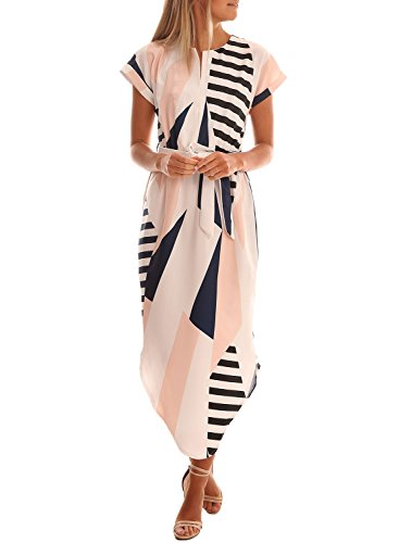 Drimmaks Women's Summer Short Sleelve Geometric Print Outdoor Casual Day Dress (XL, DM005-Multicolor)