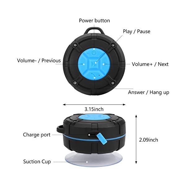 PEYOU Enceinte Bluetooth Portable,Étanche Haut-Parleur de Douche sans Fil IPX7 Parleur à Voix Haute stéréo de Bluetooth 4.2 avec Batterie 400mAh,Ventouse puissante,pour la Plage,Piscine et Cuisine 4