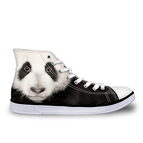 HUGS IDEA Cute 3D Animal Panda Printed Casual High Top Flat Canvas Shoes Fashion Men Lace-up Sneakers US7