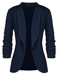 Aceshion Women 3/4 Sleeve Blazer Open Front Cardigan Jacket Work Office Blazer