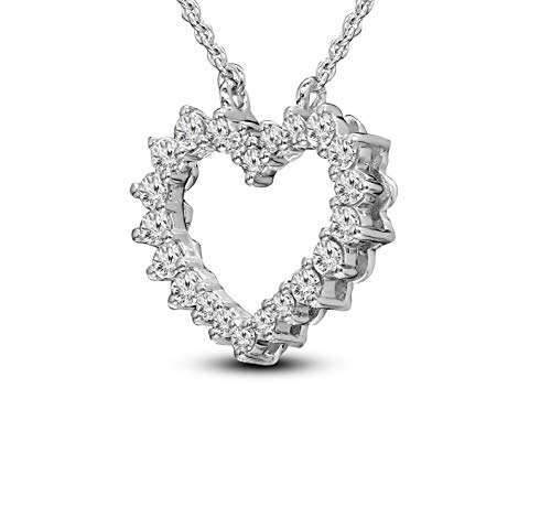 100% Real Diamond Necklace Heart Necklace 1/2ct IGI Certified Lab Grown Diamond Heart Necklace For Women Lab Diamond SI-GH Quality 10K Real Diamond Necklace (1/2ct, Gold) (Jewelry Gifts For Women) ()