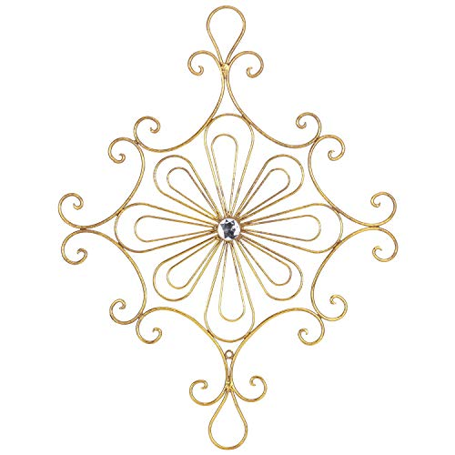 Kleanner Metal Scrolled Flower Wall Decor, Antique Floral Medallion Wall Art Plaque, Decorative Wall Sculpture for Home and Office, Gold