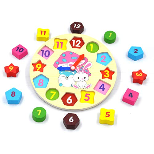 GYBBER&MUMU Little Star Wooden Blocks Toys Digital Geometry Clock Children's Educational Toy for Baby boy and Girl Gift