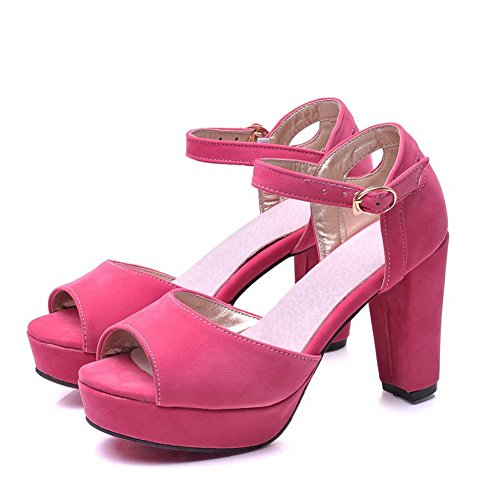 Heels B 1TO9 Frosted 5 Peach US Sandals Hollow High Out M 4 Ladies Ugv1UqR