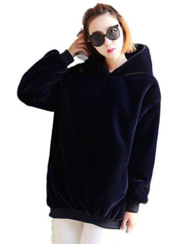 Idopy Sudaderas con capucha de piel sintética cálida de otoño invierno para mujer Armada