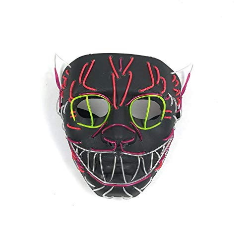 Longshow RED-Eye Halloween Mask Flashing Cosplay LED Mask Glowing Cat Mask Costume Anonymous Mask for Glowing Dance Carnival Party Masks Halloween -