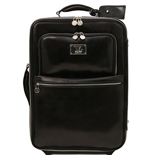 Tuscany Leather TL Voyager 2 Wheels vertical Leather trolley Black by Tuscany Leather