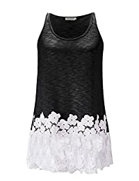 Anna-Kaci Casual Vintage Floral Lace Trim Detail Loose Fitting Long Tunic Tank Top