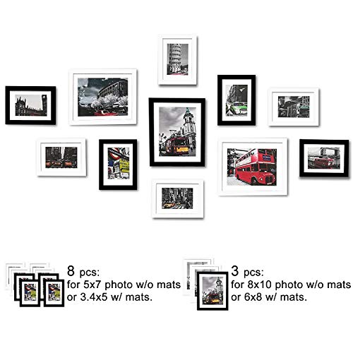 WOOD MEETS COLOR Picture Frames Set, Wall Gallery Collage Frames with Hanging Template, Real Glass Window and Photo Mats (Black and White)