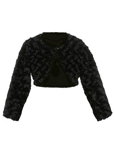 (Faux Fur Long Sleeve Bolero Jacket Shrug - Black Girl)