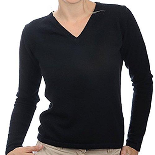 Balldiri 100% Cashmere Kaschmir Damen Pullover 2-fädig V-Ausschnitt schwarz XXXL