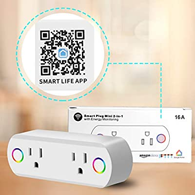 Innens Wifi Smart Plug, Mini Wireless Smart Socket Outlets Compatible with Alexa, Google Assistant and IFTTT, Timing Function, APP Remote Control, No Hub Required