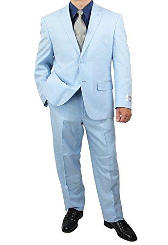 s 2-Button Linen and Cotton Blend Suit - Sky Blue 48L (Blue Linen Suit)