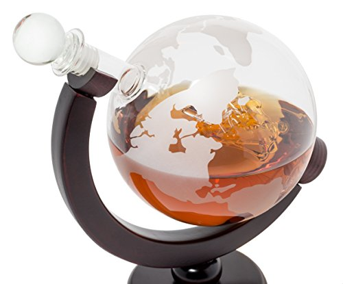 BarMe 850ml Whiskey Globe Decanter with Dark Finished Wood Stand and Bar Funnel by BarMe (Image #3)