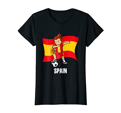 Dabbing Soccer Girl Spain Soccer Jersey (Soccer Player And Referee Costume)