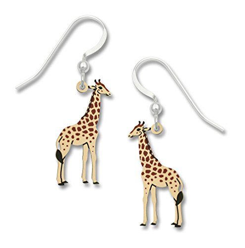 Sienna Sky Giraffe Dangle Earrings, Handpainted Etched Brass w/Sterling Silver Ear Wires