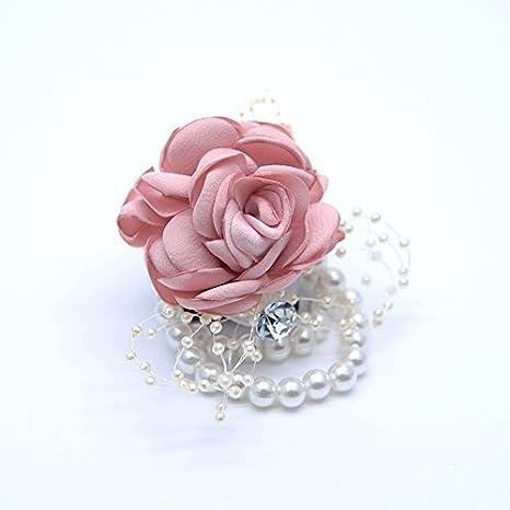 Mackur bracciale matrimonio mano fiore matrimonio Supplies sposa polso fiore Requisiti polso fiori per sposa e damigella donore Party 1 pezzo Blu 9*7cm