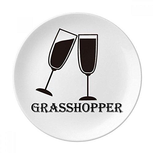 (Silhouette Of Grass Hopper Cocktail Dessert Plate Decorative Porcelain 8 inch Dinner Home)