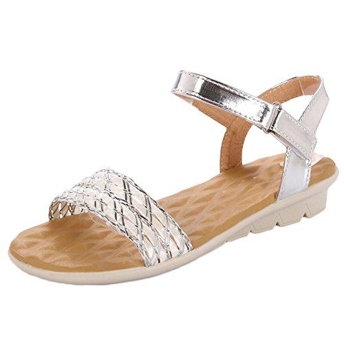 19f1216e Scothen Sandalias de tacón Casual tarde Peep Toe mujeres de las sandalias  planas de la hebilla ...