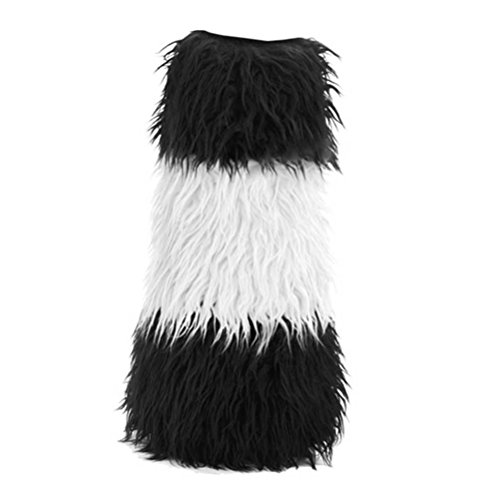 Summitfashions Knee High Wide Color Striped Faux Fur Leg Wamers Colors: White -