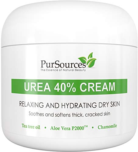 PurSources Urea 40% Foot Cream 4 oz - Best Callus Remover - Moisturizes & Rehydrates Thick, Cracked, Rough, Dead & Dry Skin - For Feet, Elbows and Hands + Free Pumice Stone - 100% Money Back Guarantee (Best Thing For Dry Cuticles)