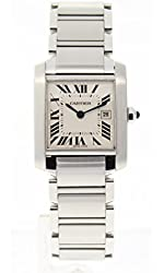 Cartier Tank analog-quartz white unisex-adult Watch W51011Q3 (Certified Pre-owned)