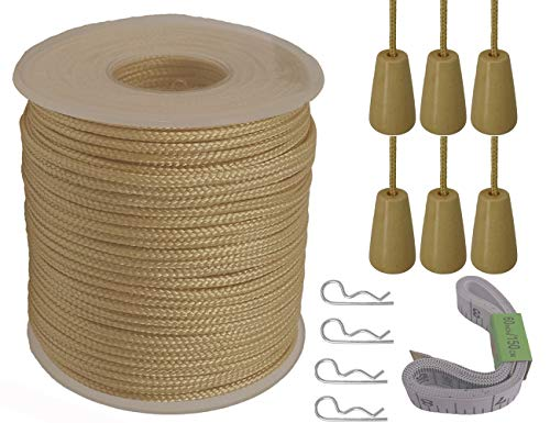 (Y-Axis Roll of 60 Yards 2.0mm Light Gold Braided Nylon Lift Shade Cord with 6 Pack White Wood Cord Knobs + Soft Tape)