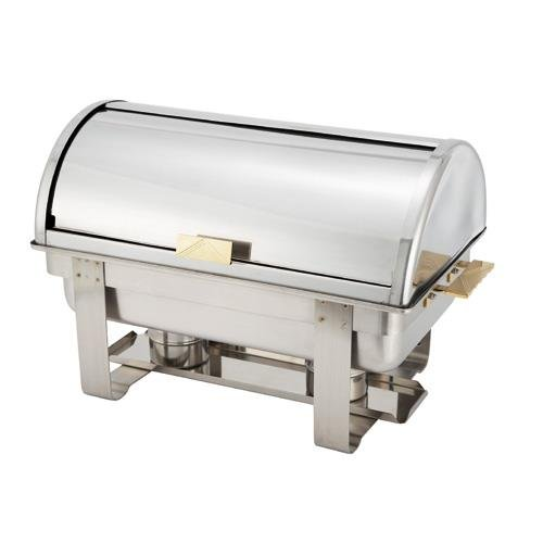 (Winware 8 Qt Stainless Steel Roll-Top Chafer, Gold Accent)