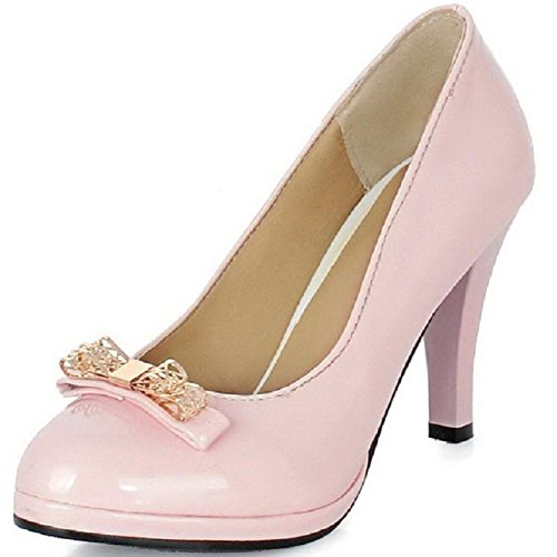 Amoonyfashion Dames Pull Op Hoge Hakken Lakleder Stevige Ronde Gesloten Teen Pumps-schoenen Roze