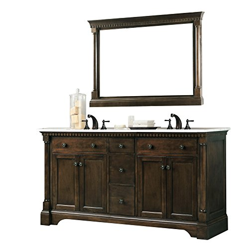 Legion Furniture WLF6036-60' Double Sink Vanity in Carrara Marble, 60', Coffee Bean Finish