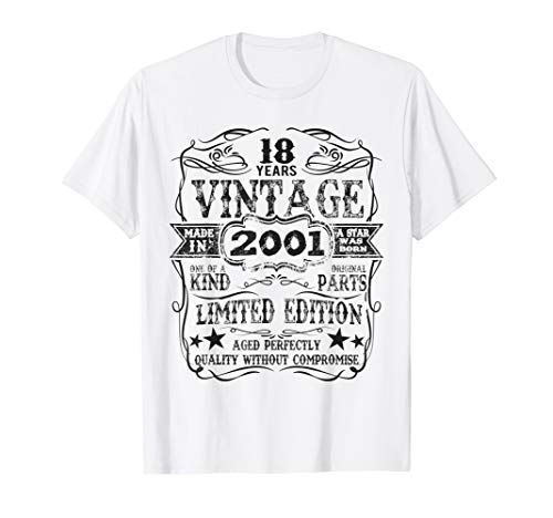 Made In 2001 18 Years Old Vintage 18th Birthday Gift T-Shirt