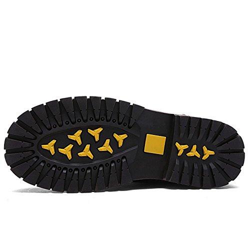 TAOFFEN Brown Boots Uomo Stivali Short Dark Moda Combat rEXq0nxfr