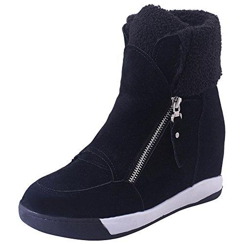 ea67361839a Fausse Chaussures Chaud Daim En Caché En Femmes Hiver Chaudes Confort Noir  Doublées Wealsex Bottines Zipper ...