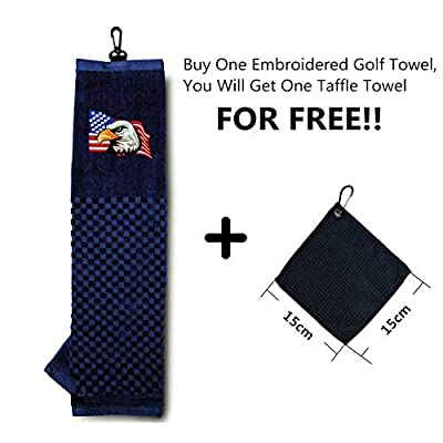 FINGER TEN Golf Bag Towel Tri Fold Club with Grommet Men Women Large with 1 Free Golf Ball Towel Set, Trifold USA Eagle Flag UK Pattern 16''X 22'', New Cotton Gifts Embroidered Towels Pack